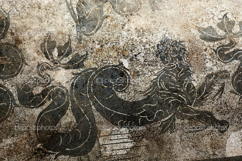 Ancient Roman Dragon Mosaic Floor Ostia Antica Rome Italy