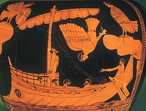 Odysseus and the Sirens, Greek Red-Figure Stamnos Vase, British Museum